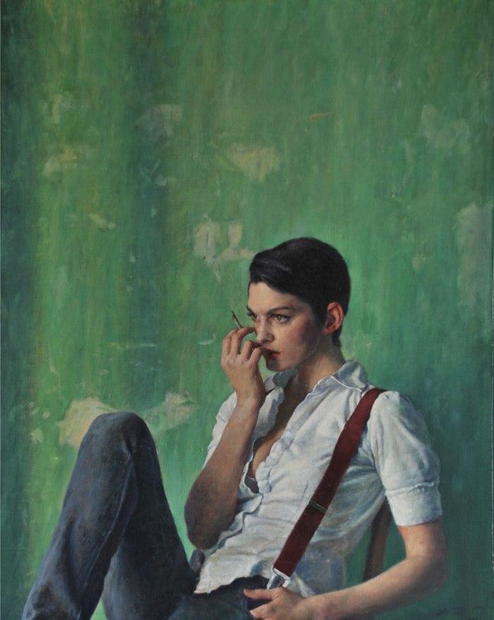 Olivia Sitting, cuadro de Alex Russel Flint